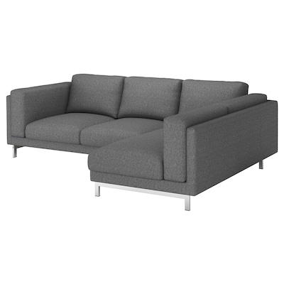 NOCKEBY 3er-Sofa, mit Récamiere rechts/Lejde dunkelgrau/verchromt