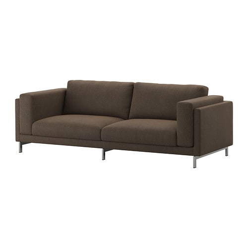 nockeby 3er sofa ten braun verchromt ikea. Black Bedroom Furniture Sets. Home Design Ideas