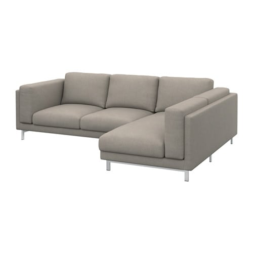 nockeby 3er sofa mit r camiere rechts ten hellgrau mit r camiere verchromt ikea. Black Bedroom Furniture Sets. Home Design Ideas