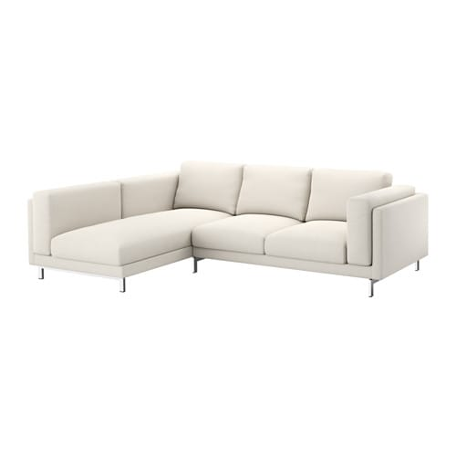 nockeby 2er sofa mit r camiere links links tallmyra hellbeige verchromt ikea. Black Bedroom Furniture Sets. Home Design Ideas