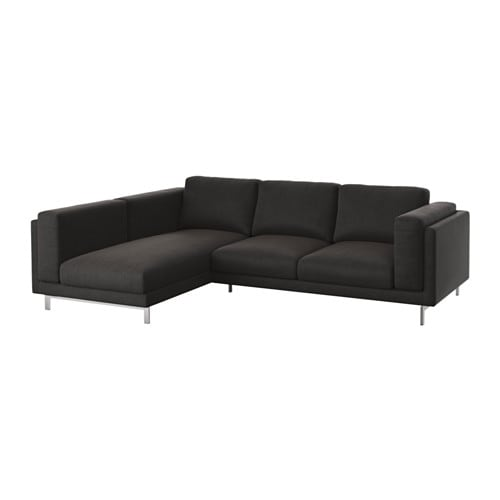 nockeby 2er sofa mit r camiere links links ten dunkelgrau verchromt ikea. Black Bedroom Furniture Sets. Home Design Ideas