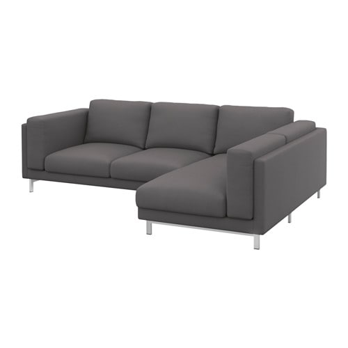 nockeby 2er sofa mit r camiere rechts verchromt rechts risane grau ikea. Black Bedroom Furniture Sets. Home Design Ideas
