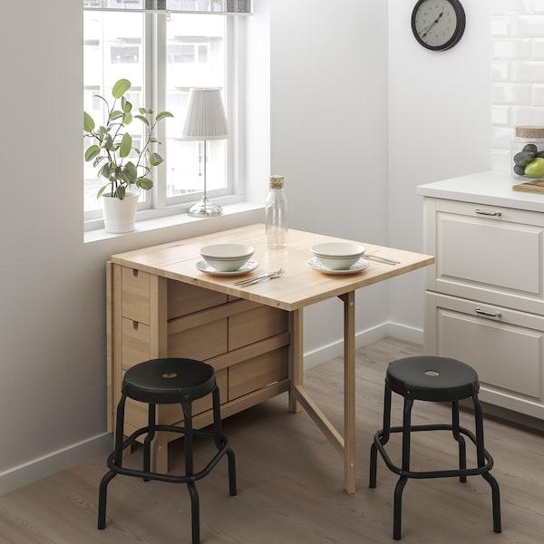 NORDEN / RÅSKOG Tisch + 2 Hocker, Birke/schwarz, 89/152 cm