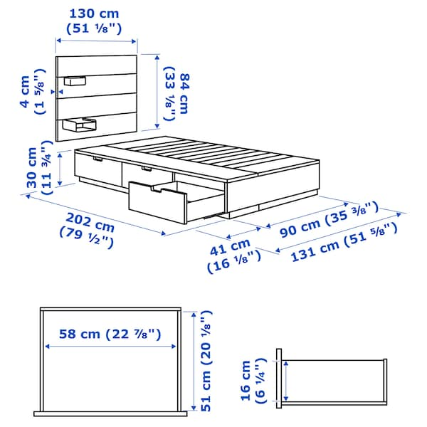 NORDLI Bettgestell mit Kopfteil und Aufb., weiß, 90x200 cm