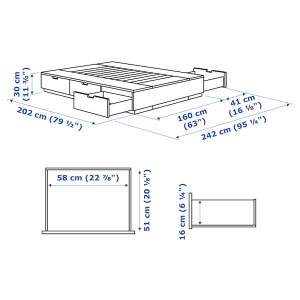 NORDLI Bettgestell mit Schubladen, weiß, 160x200 cm