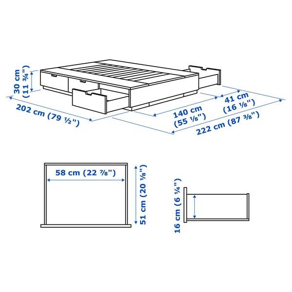 NORDLI Bettgestell mit Schubladen, weiß, 140x200 cm