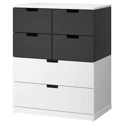 NORDLI Kommode mit 6 Schubladen, weiß/anthrazit, 80x99 cm