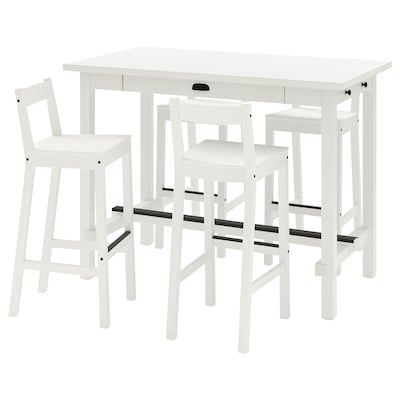 NORDVIKEN Theke + 4 Barstühle, weiß/weiß