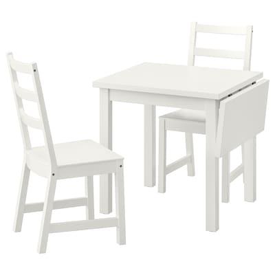 NORDVIKEN Tisch und 2 Stühle, weiß/weiß, 74/104x74 cm