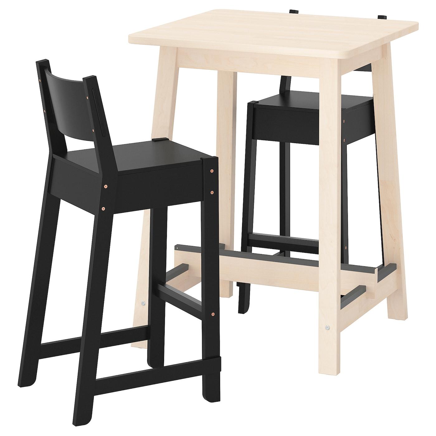 IKEA NORRÅKER / NORRÅKER Theke + 2 barstühle Birke/schwarz | Küche und Esszimmer > Bar-Möbel > Tresen und Theken | IKEA