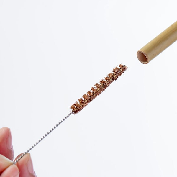 OKUVLIG Trinkhalme und Reinigungsbürsten, Bambus/Palme