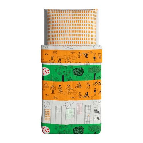 IKEA ÖNSKEDRÖM Bettwäsche Set Bettbezug orange grün 140x200 80x80 100% Baumwolle   eBay