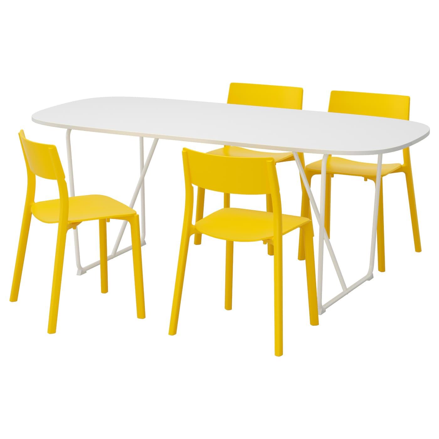 OPPEBY/BACKARYD / JANINGE, Tisch und 4 Stühle, weiß 591.615.43