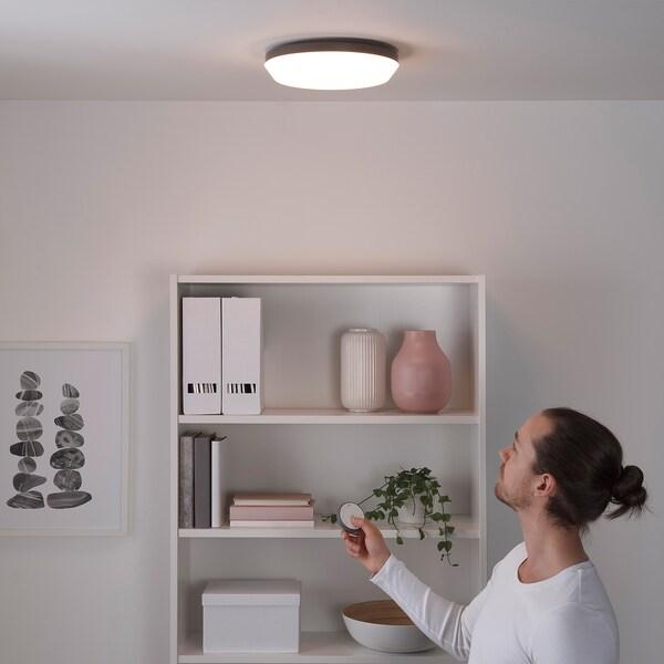 OSVALLA Deckenleuchte, LED, kabellos dimmbar grau, 29 cm