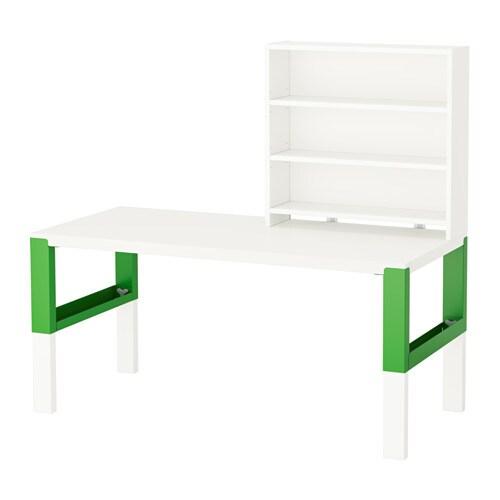 p hl schreibtisch mit aufsatz wei gr n ikea. Black Bedroom Furniture Sets. Home Design Ideas