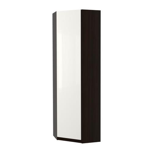 pax eckkleiderschrank fardal hochglanz wei schwarzbraun 73 73x236 cm ikea. Black Bedroom Furniture Sets. Home Design Ideas