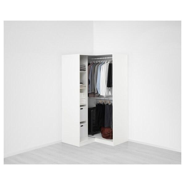 PAX Eckkleiderschrank, weiß/Grimo weiß, 111/111x201 cm