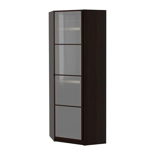 pax eckkleiderschrank fevik schwarzbraun frostglas schwarzbraun 73 73x201 cm ikea. Black Bedroom Furniture Sets. Home Design Ideas