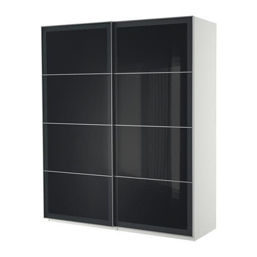 Kleiderschrank schiebetüren ikea  IKEA PAX Kleiderschrank mit Schiebetüren - weiß, 200x66x236 cm 0,77 ...