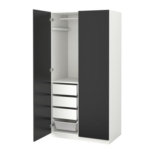 Schrank ikea schwarz  PAX Kleiderschrank - 100x60x236 cm, Scharnier, sanft schließend - IKEA