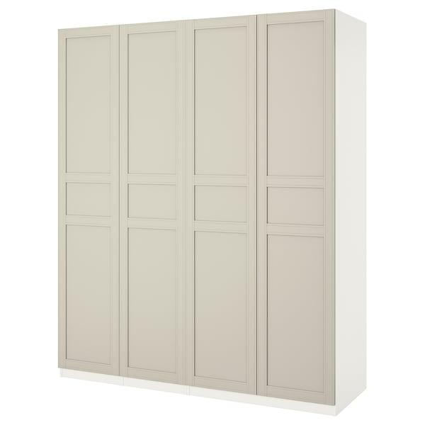 PAX Kleiderschrank, weiß/Flisberget hellbeige, 200x60x236 cm