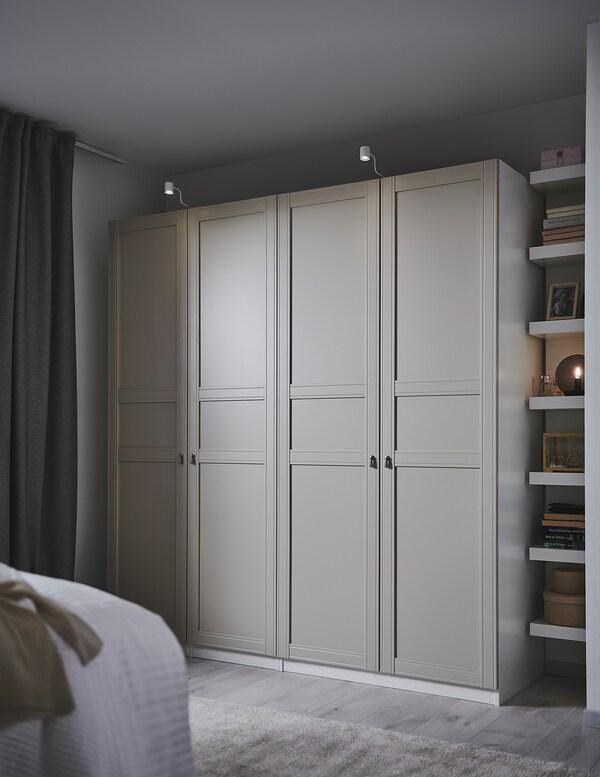 PAX Kleiderschrank, weiß/Flisberget hellbeige, 200x60x201 cm
