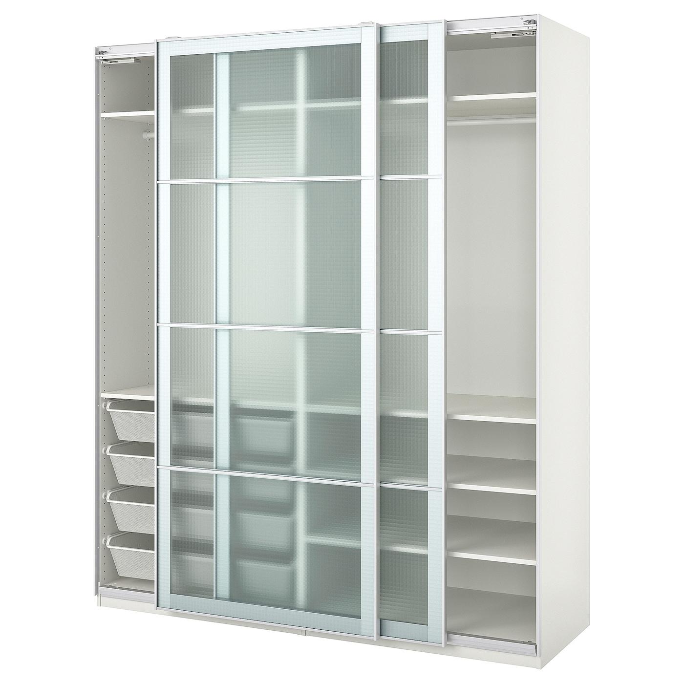 PAX Kleiderschrank - weiß/Nykirke Frostglas kariert 200x66x236 cm
