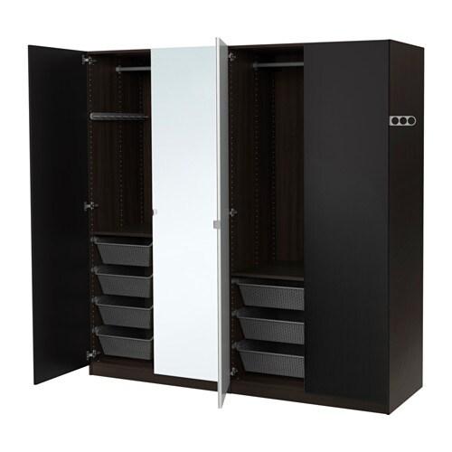 pax kleiderschrank 200x60x201 cm scharnier sanft. Black Bedroom Furniture Sets. Home Design Ideas