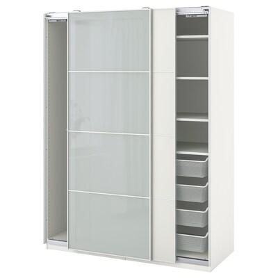 PAX / MEHAMN/SEKKEN Schrankkombination, weiß/Frostglas, 150x66x201 cm