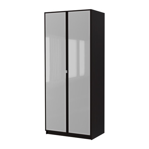 ikea pax schrank mit 2 t ren fevik schwarzbraun frostglas schwarzbraun 100x38x236 cm. Black Bedroom Furniture Sets. Home Design Ideas