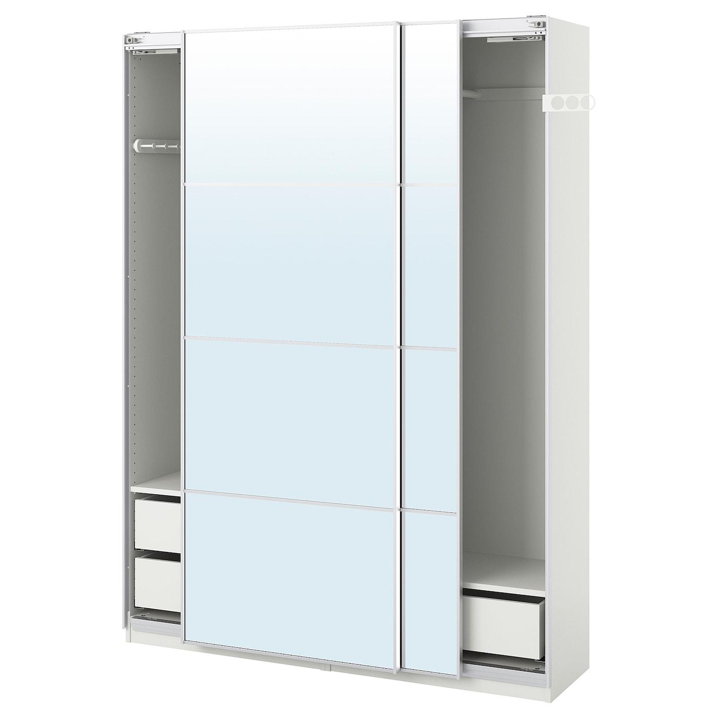 Pax Kleiderschrank Weiss Auli Spiegelglas Ikea Deutschland