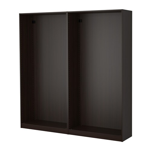 pax 2x korpus kleiderschrank schwarzbraun ikea. Black Bedroom Furniture Sets. Home Design Ideas
