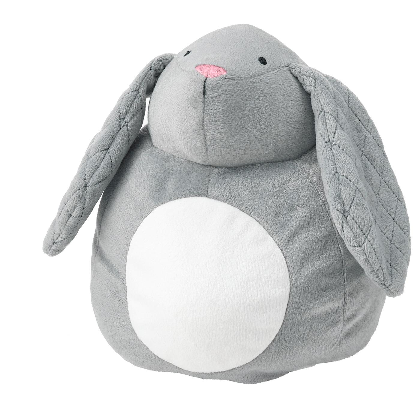 PEKHULT Stofftier mit LED-Nachtlicht - grau Kaninchen/batteriebetrieben 19 cm