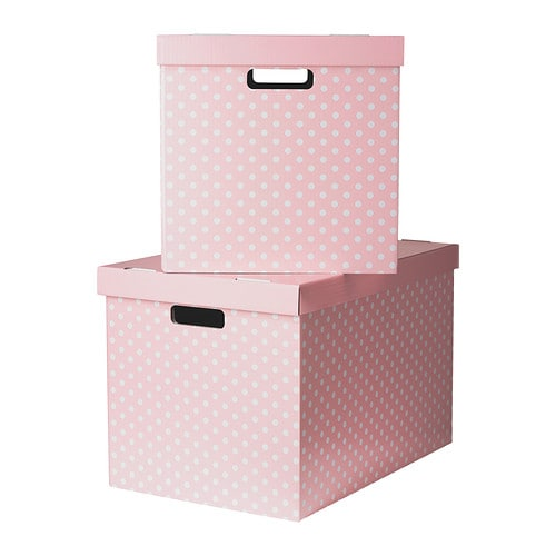 pingla box mit deckel rosa 56x37x36 cm ikea. Black Bedroom Furniture Sets. Home Design Ideas