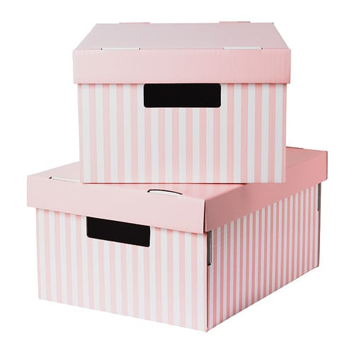 pingla box mit deckel rosa 28x37x18 cm ikea. Black Bedroom Furniture Sets. Home Design Ideas