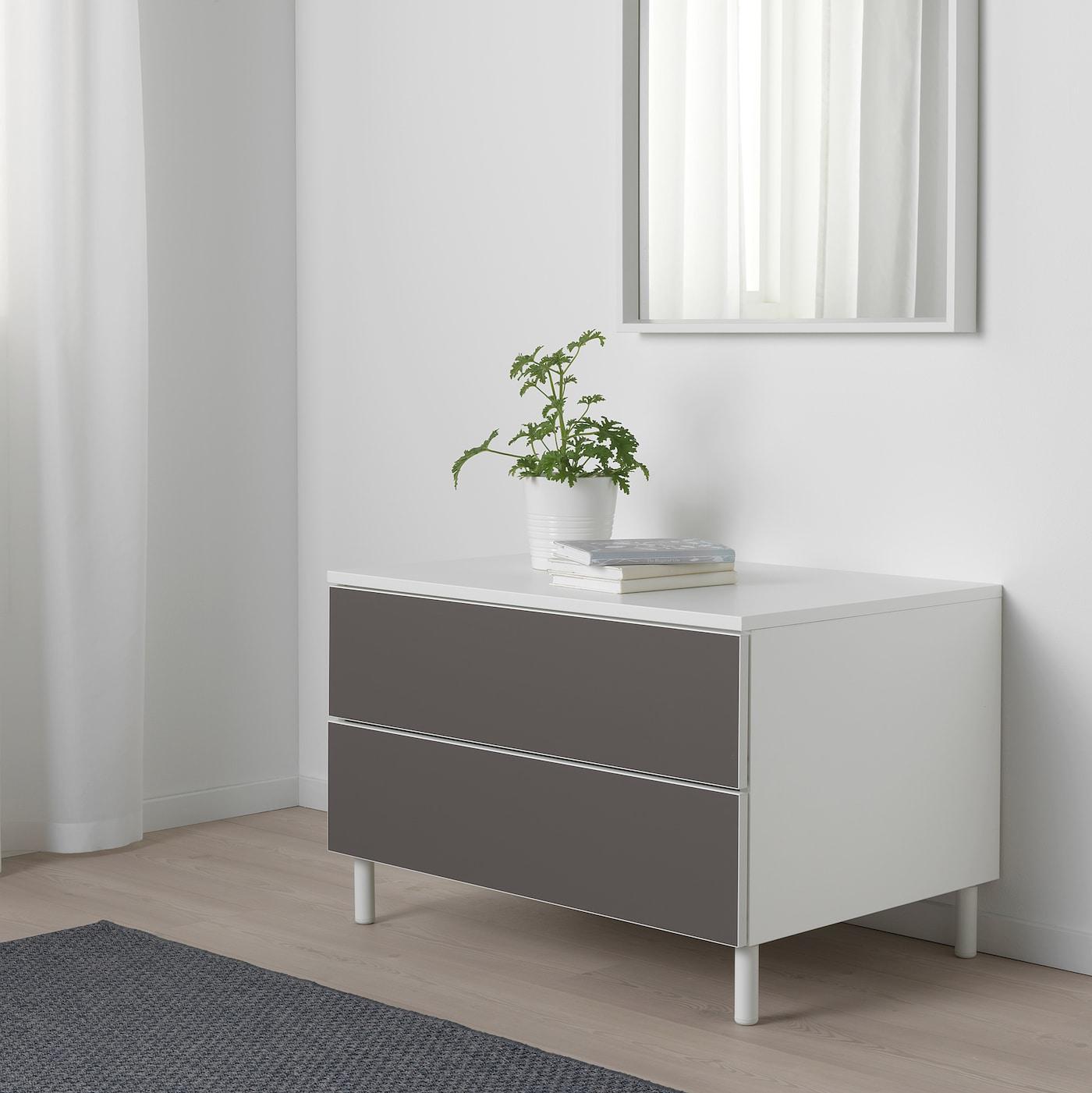 PLATSA Kommode mit 2 Schubladen weiß/Skatval dunkelgrau 80 cm 57 cm 53 cm