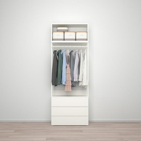 PLATSA Kleiderschrank m 2 Türen+3Schubl., weiß/Fonnes weiß, 80x42x221 cm