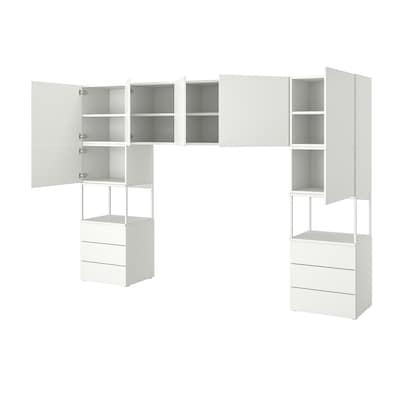 PLATSA Kleiderschrank m 7 Türen+6Schubl., weiß/Fonnes weiß, 300x42x201 cm