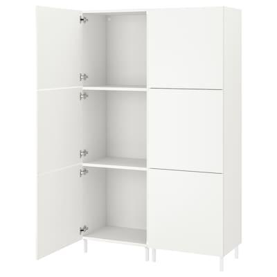 PLATSA Kleiderschrank mit 6 Türen, weiß/Fonnes weiß, 120x42x191 cm
