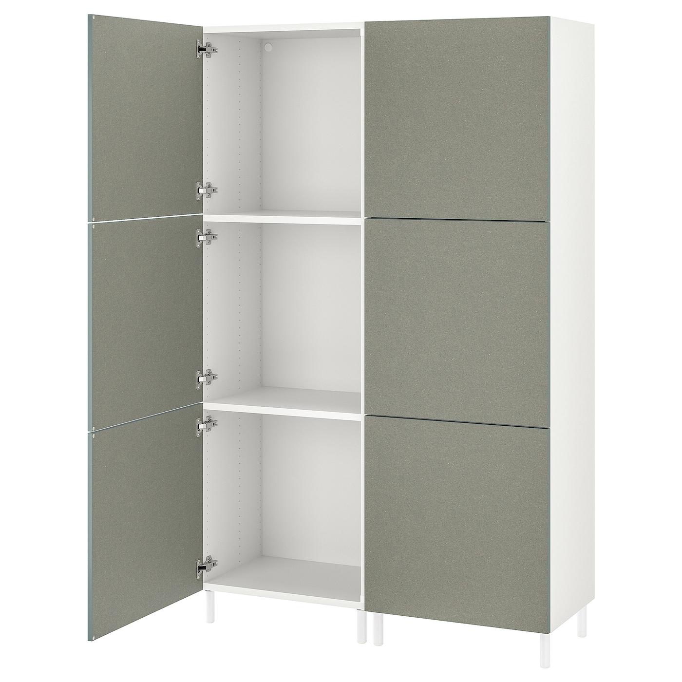 PLATSA Kleiderschrank mit 6 türen - weiß/Klubbukt graugrün ...