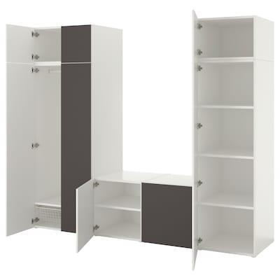 PLATSA Kleiderschrank mit 8 Türen, weiß/Skatval dunkelgrau, 260x57x221 cm