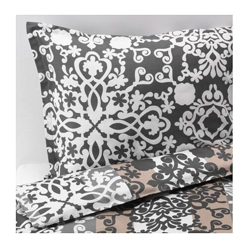 prakttry bettw scheset 2 teilig grau wei beige 140x200 80x80 cm ikea. Black Bedroom Furniture Sets. Home Design Ideas