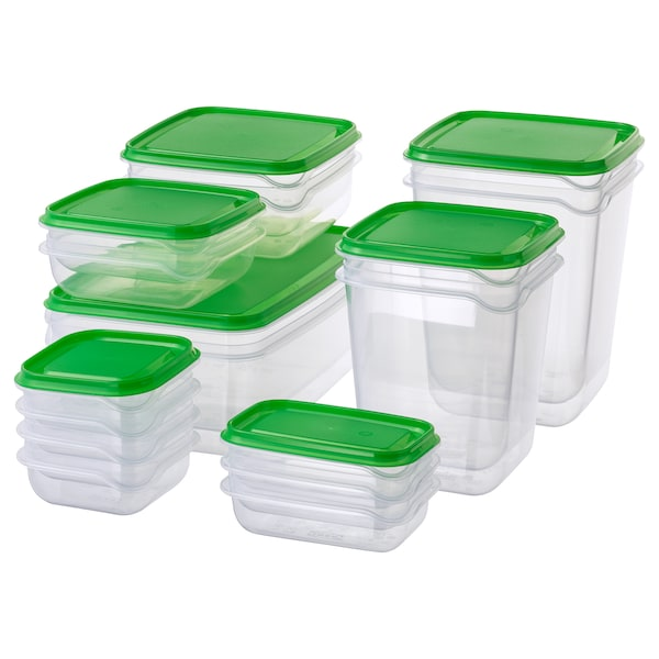 PRUTA Dose mit Deckel 17er-Set transparent/grün