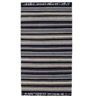 RÅVAROR Teppich flach gewebt, dunkelblau, 90x155 cm