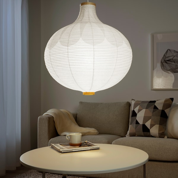 RISBYN Hängeleuchtenschirm, Zwiebelform/weiß, 57 cm