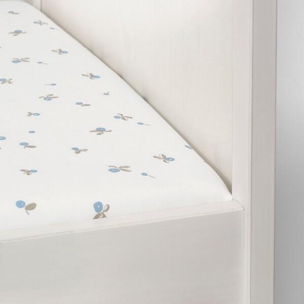 RÖDHAKE Spannbettlaken für Babybett, weiß/Blaubeermuster, 70x140 cm