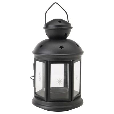 ROTERA Laterne für Teelicht, drinnen/draußen schwarz, 21 cm
