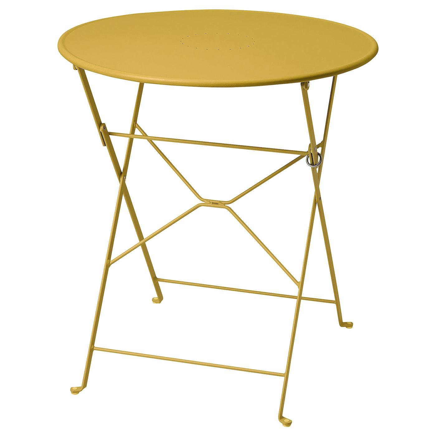 SALTHOLMEN Tisch/außen - faltbar/gelb 65 cm