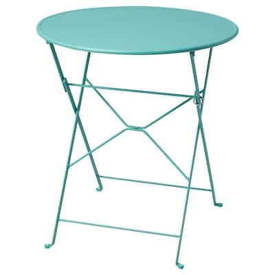 SALTHOLMEN Tisch/außen, faltbar/türkis, 65 cm