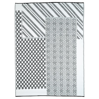 SAMMANKOPPLA Teppich flach gewebt schwarz/weiß 240 cm 180 cm 4.32 m² 440 g/m²